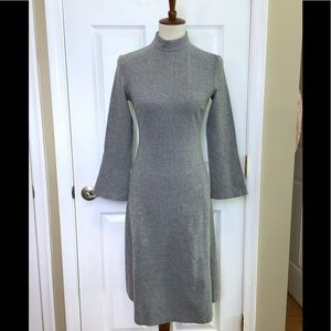 ZARA Grey Wool Blend A-Line Long Sleeve Dress XS